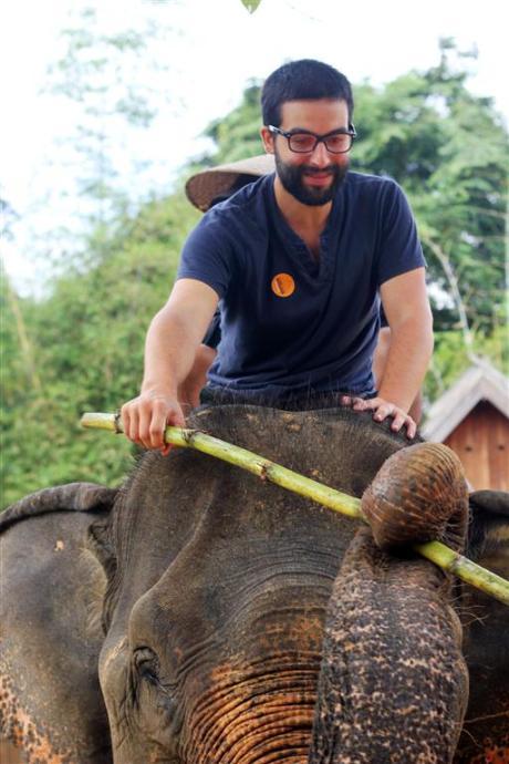 el sofa amarillo montar en elefante en laos (10)