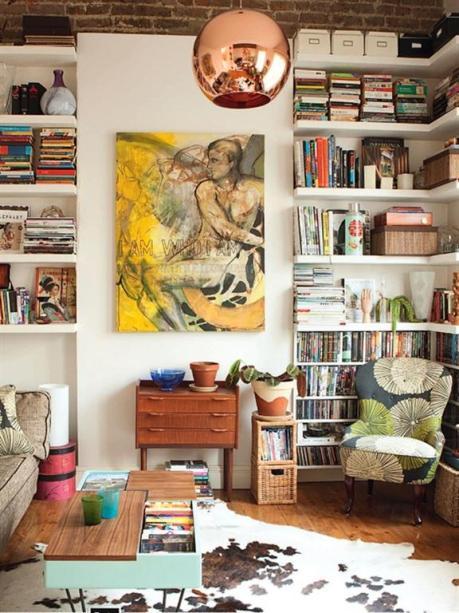 el sofá amarillo estanterías grandes (3)